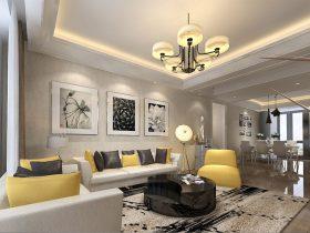 现代客厅样板房家具